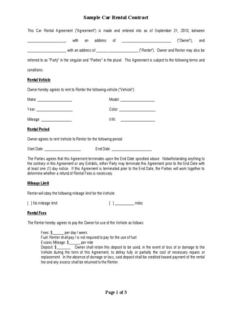 rental contract template free christian preschool