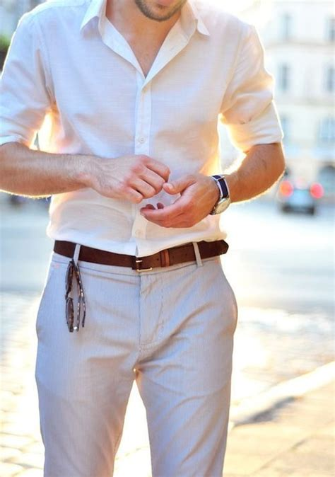 Picture Of light grey pants a white shirt is an easy and stylish combo