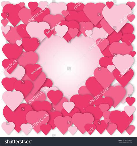 3d Paper Hearts Collage Vector Card Stock Vector 562994539
