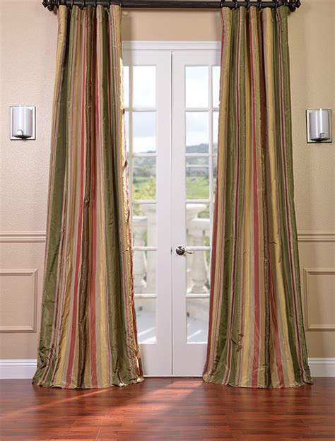 mirage faux silk taffeta stripe curtains modern