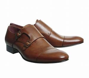 Poste Italiano Double Monk Shoes Tan Leather