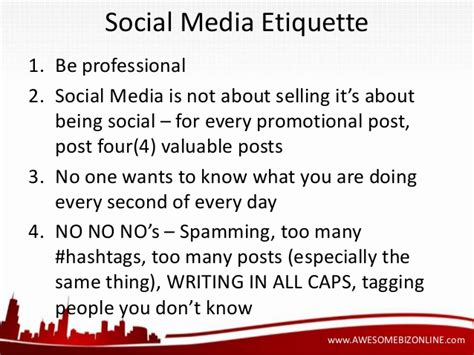 social etiquette quick and dirty social media tips