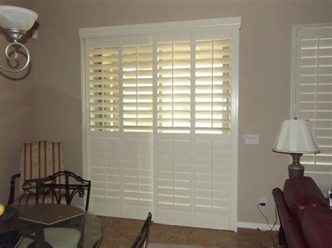 plantation shutters  sliding glass doors traditional
