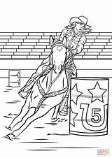 Barrel Coloring Horse Racing Horses Rodeo Printable Colouring Sheets Riding Rider Cowgirl Drawings Cowboy Racer Barrels Adult Animals Western Supercoloring sketch template
