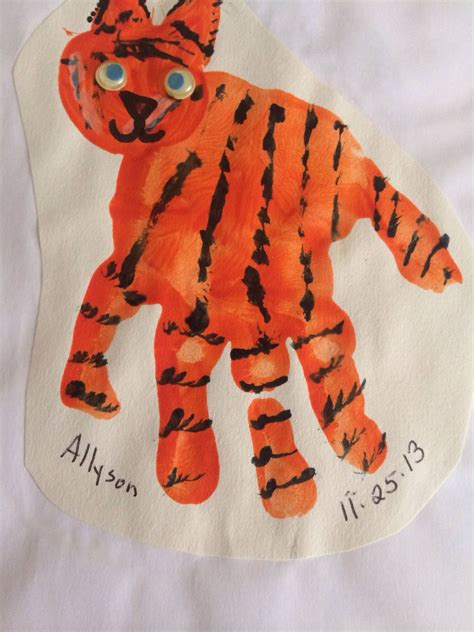 tiger handprint learn letters   tiger