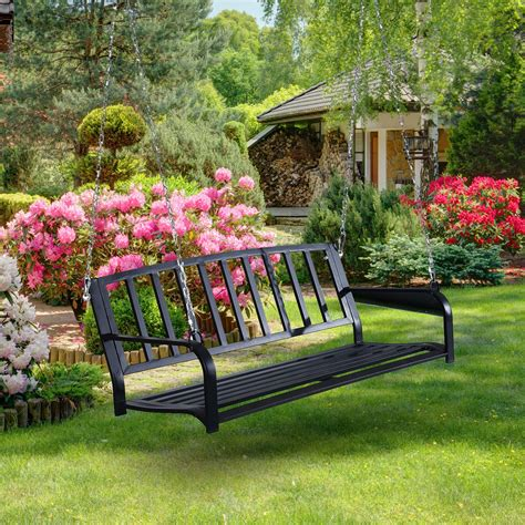 Porch Swing Bench by Outsunny 50 Quot Outdoor Porch Swing Hanging Bench With Chain