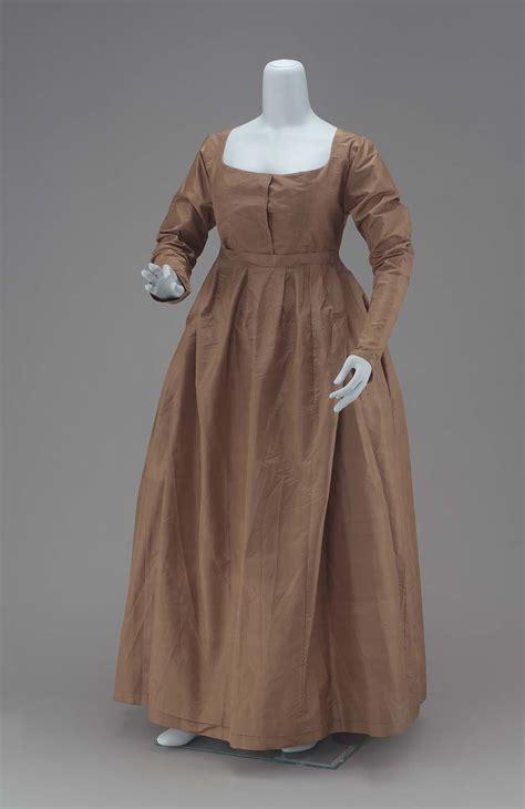 clothing dress 1800s quaker century early historical brown 19th american regency costumes dresses quakers period taffeta america silk greenish costume