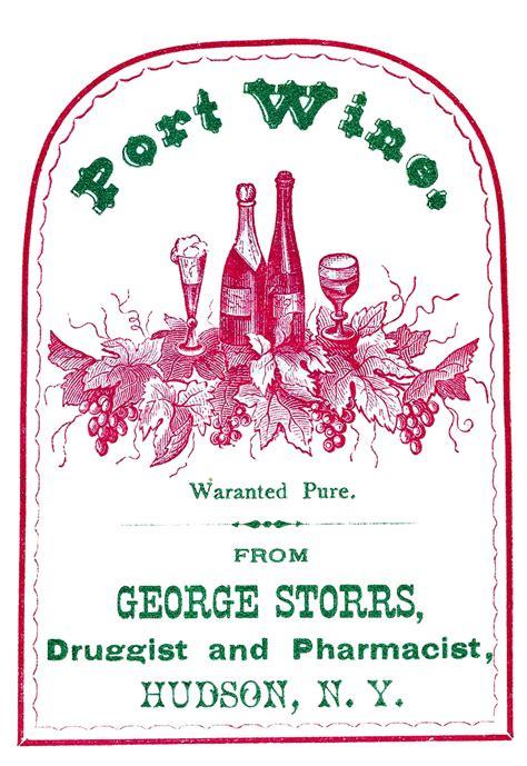 vintage clip art port wine label  graphics fairy