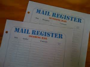 Incoming and Outgoing Mail Register