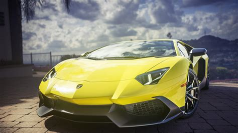 Wallpaper Lamborghini Aventador, Yellow, Super Sports Car