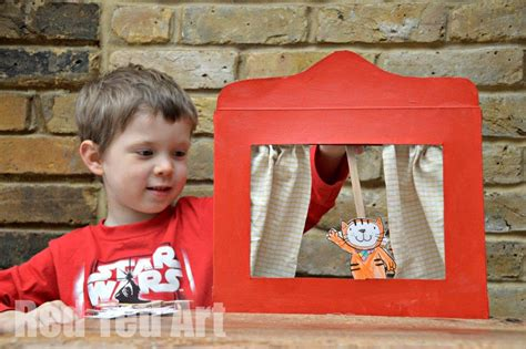 cereal box puppet theatre  poppy cat red ted arts blog