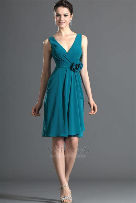 vestido de dama de honor sencillo escote en  flores hasta