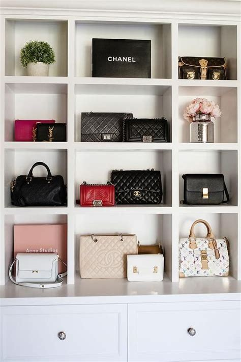 In A Small Closet Alcove, Designer Bags Sits In Built In