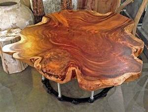 custom made cross cut monkeypod slab wood natural edge With natural cut wood coffee table