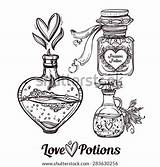 Potion Potions Magic Vector Bottles Drawn Illustration Coloring Hand Elegant Pages Tattoo Sketch Aphrodisiac Elixir Shutterstock Illustrations Doodle Template Isolated sketch template