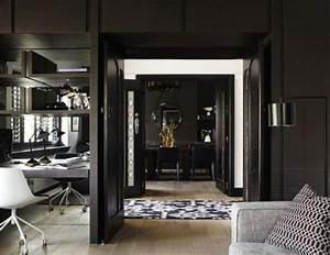Impressive black interior design with gold and orange for Art deco interior paint colors