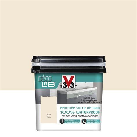 peinture d 233 colab meuble salle de bain 100 waterproof v33 blanc ivoire 0 75 l leroy merlin