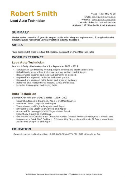 auto technician resume samples qwikresume