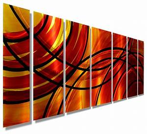 Vivid red orange abstract panel metal wall art bound by for Kitchen cabinets lowes with modern abstract metal wall art sculpture