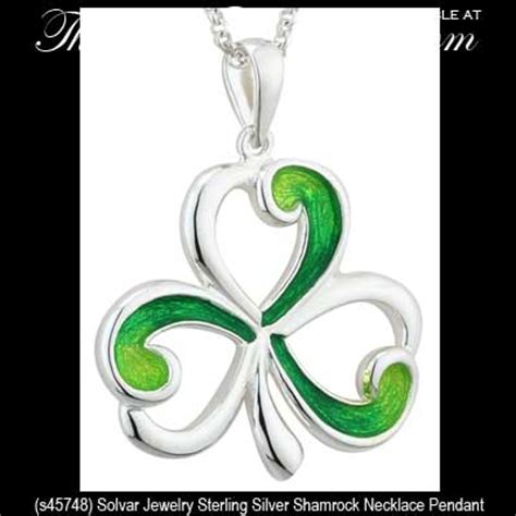 silver shamrock necklace  solvar