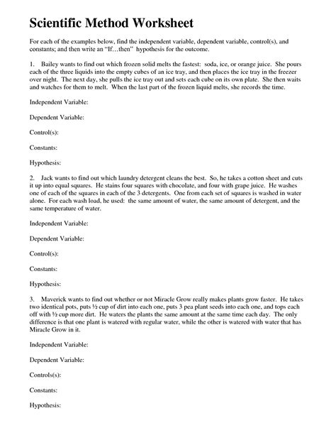 16 best images of science variable worksheet