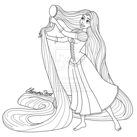rapunzel drawing sketch coloring page