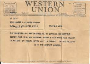 Western Union Telegram World War 1 Death Letters