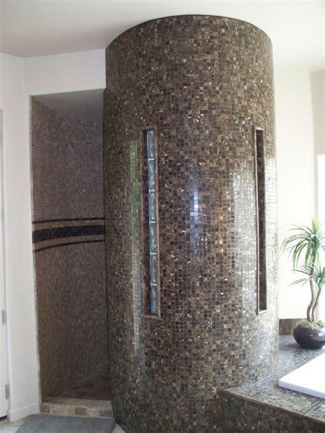 Tile  Glass Block Snail Shower Bathroom Design Ideas