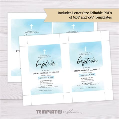 Blue Watercolor Baptism Invitation Template Flearn Ph