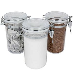Set Of 3 Clear Acrylic Canisters Kitchen Food Storage Jars