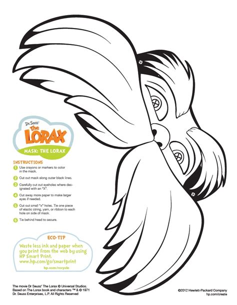 Dr. Seuss Printable Lorax Mask