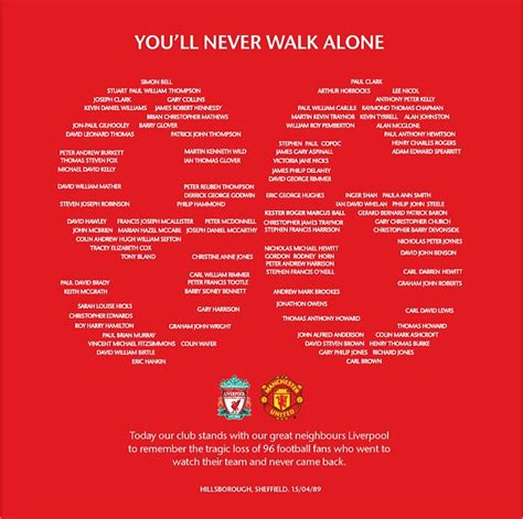 victims  hillsborough disaster honoured  anfield