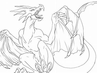 Dragon Outline Drawing Demon Neko Hell Deviantart