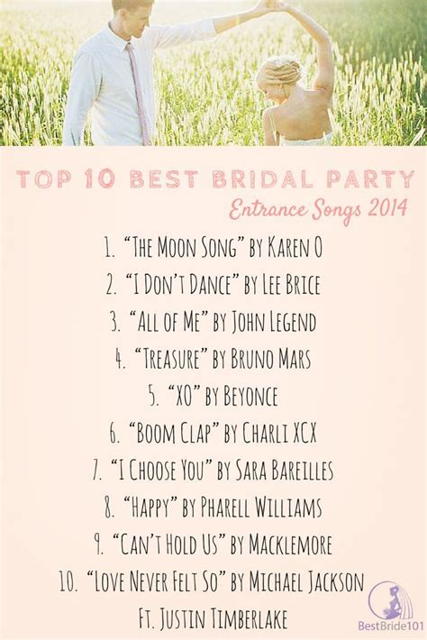 bridal party entrance songs bridal entrance songs for 2014 but still good for any