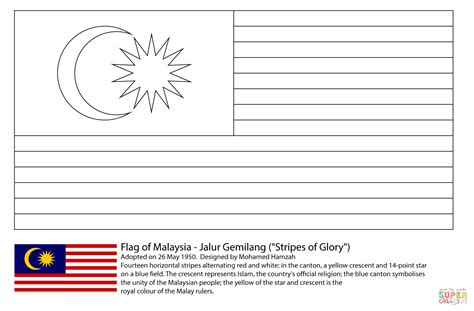 flag  malaysia coloring page  printable coloring pages