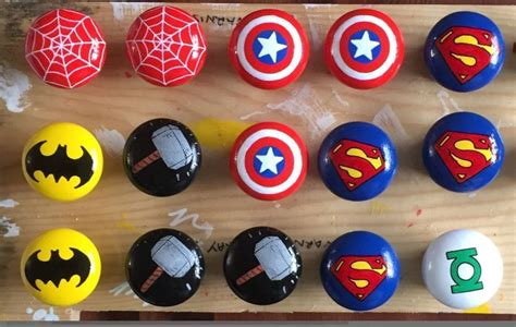 Minecraft Bedroom Drawers by Marvel Dc Themed Pine Painted Drawer Door Knobs