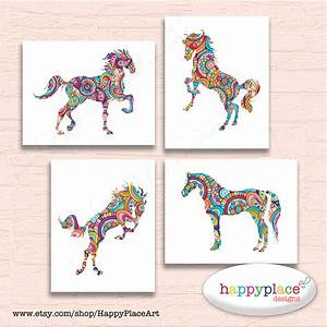 set of 4 prints horse wall art horse prints large equine With horse wall art