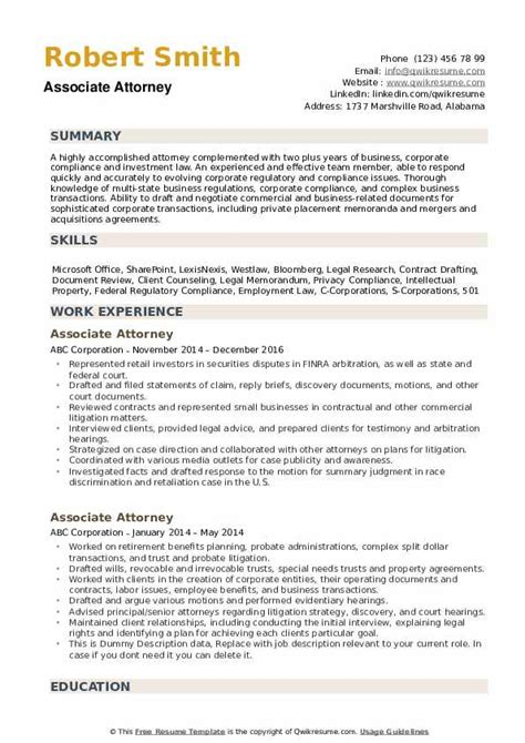 Attorney Resume Sles by Associate Attorney Resume Sles Qwikresume