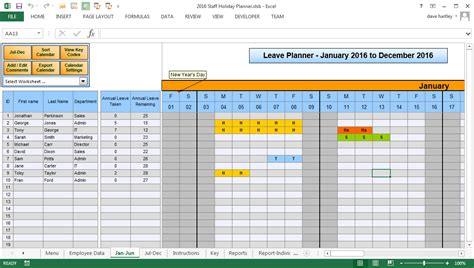 annual leave plan template excel  printable schedule