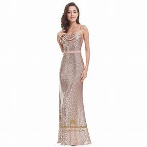 Pink Spaghetti Strap Sequin Backless Long Evening Dress ...