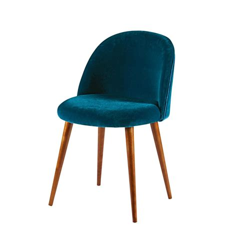 peacock blue velvet and solid birch chair mauricette