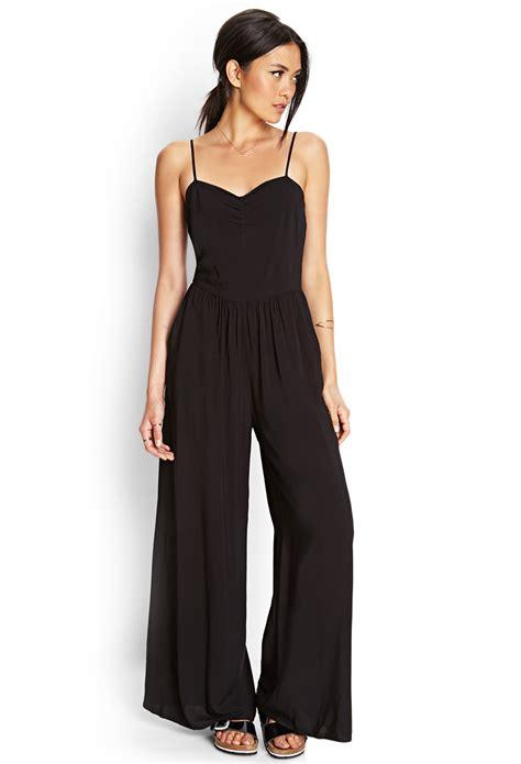 black wide leg jumpsuit forever 21 wide leg jumpsuit in black lyst