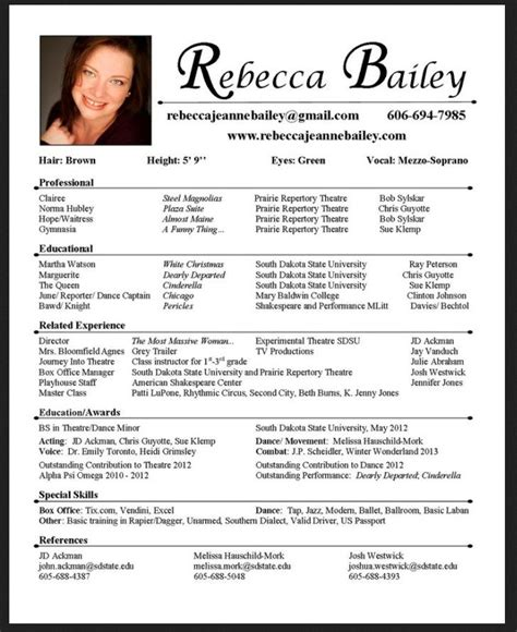 Acting Resume Exle by The 25 Best Acting Resume Template Ideas On