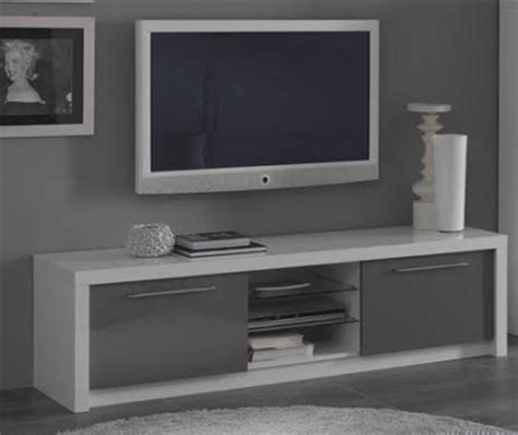 sieges enfants meuble tv plasma fano laqué blanc et gris blanc brillant