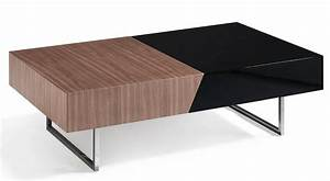 Table Basse Blanc Laqué Et Bois : table basse plateau coulissant bois noyer et laqu roma couleur blanc ~ Teatrodelosmanantiales.com Idées de Décoration