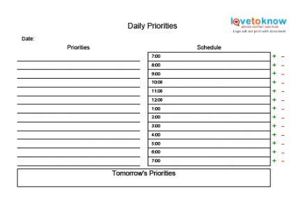 Time Management Daily Planner Templates by Printable Time Management Charts Lovetoknow