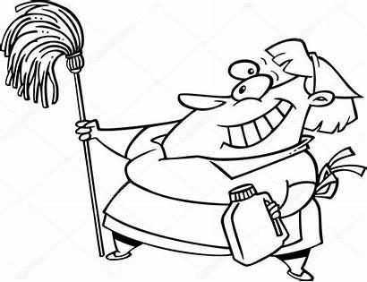 Cartoon Cleaning Mop Lady Illustration Vector Depositphotos