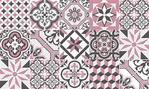 Tapis vinyle carreaux de ciment ginette rose for Carreaux de ciment rose