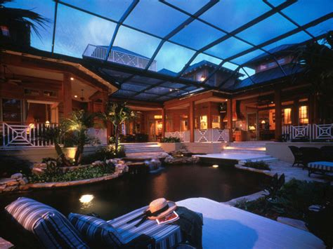 outdoor living space tropical pool orlando