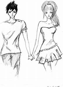 Anime Boy And Girl Holding Hands Cute Couple Drawing ...
